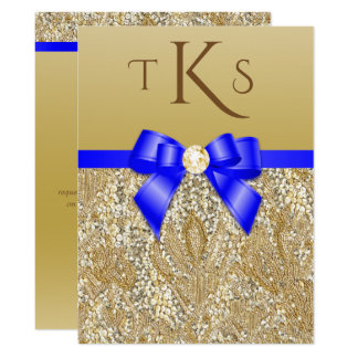 Large Faux Gold Sequins Royal Blue Bow Wedding Card