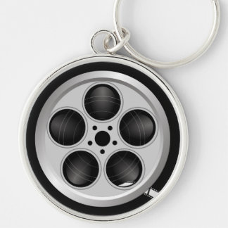 Large Film Reel Keychain - Silverplated