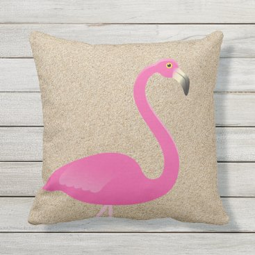Beach Themed Large Flamingo on Beach Sand Outdoor Pillow