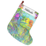 Large Fleece Tropical Birds Christmas Stocking
