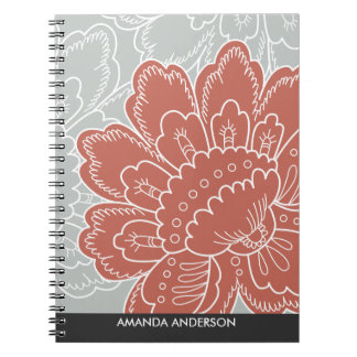 Large Floral Motif Personalized Notebook