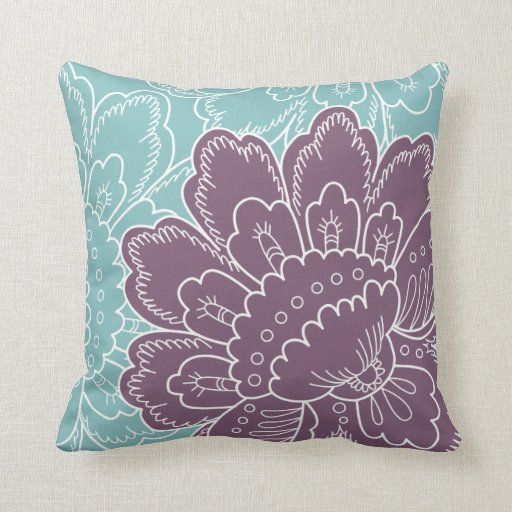 Turquoise And Purple Decorative Pillows : Large Floral Motif Pillow in Turquoise and Purple Zazzle