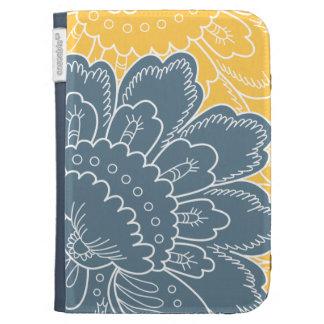 Large Floral Motif Pillow Kindle Case (blue)