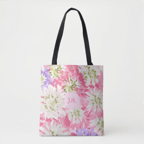 Large floral print in pinks with Monogram Tote Bag