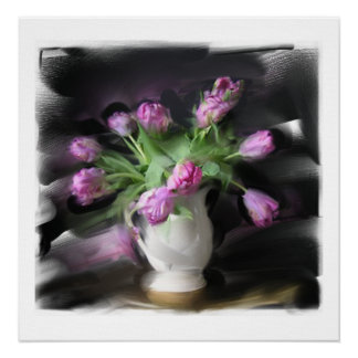 Large Floral Still Life on Canvas Poster