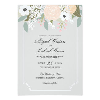 Large Floral Wedding Invitation