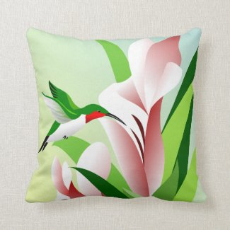 Large Flowers and Hovering Hummingbird Pillows