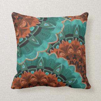 Large Flowery Teal Brown Orange Pattern Throw Pillow