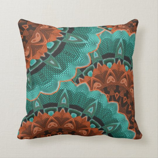 Large Brown Throw Pillows : Large Flowery Teal Brown Orange Pattern Throw Pillow Zazzle.com