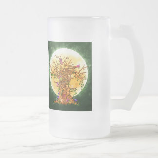 Large Frosted Glass Mug Fairy Tree
