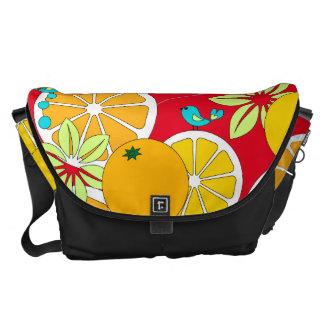 (Large)Fruity orange slices & blue birds Courier Bag