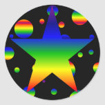 Large funky rainbow star polka dot stickers