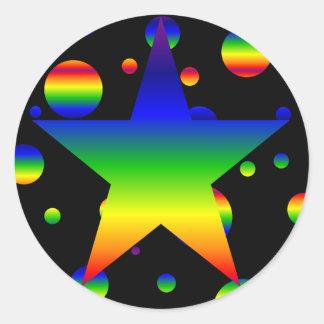 Large funky rainbow star polka dot stickers