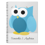 """Large Funny Blue Owl 6.5"""" x 8.75"""" Spiral Notebook"""
