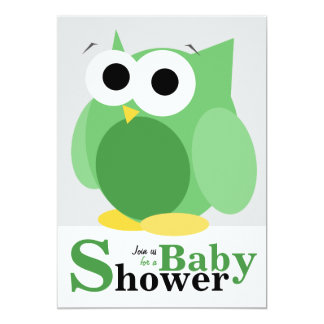 "Large Funny Green Owl Baby Shower Invitations 5"" X 7"" Invitation Card"