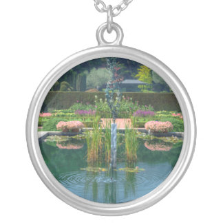 Large Garden Fountain Silver Plated Necklace