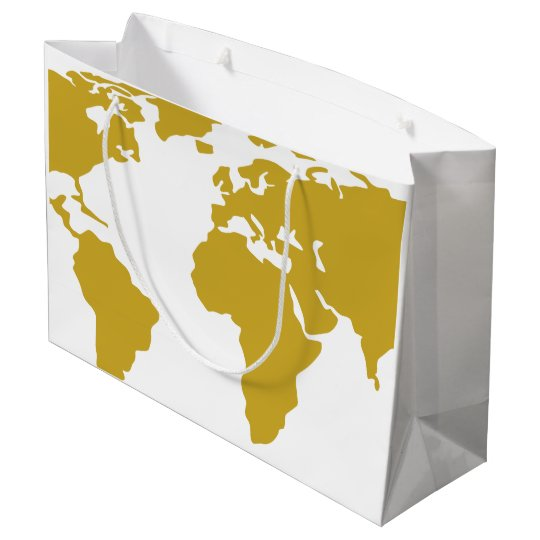 World Map Gift Bags.Large Gift Bag Gold World Map Zazzle Com