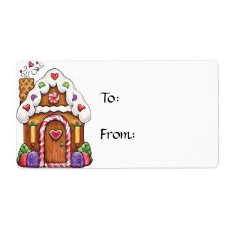 Large Gift Tag Label - Gingerbread House - To/From
