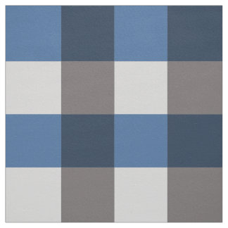 Large Gingham Plaid, grey / gray and blue Fabric