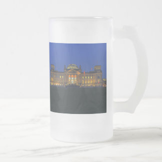 Large glass cup Berlin Reichstag in the evening