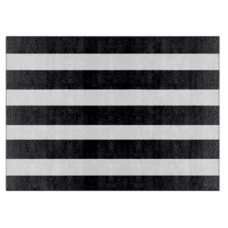 Large Glass Cutting Board Black White Stripes