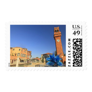 Large Glass Statue and Bell Tower, Italy Stamp
