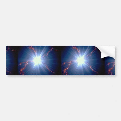 Large glowing electro-charge over blue background bumper sticker