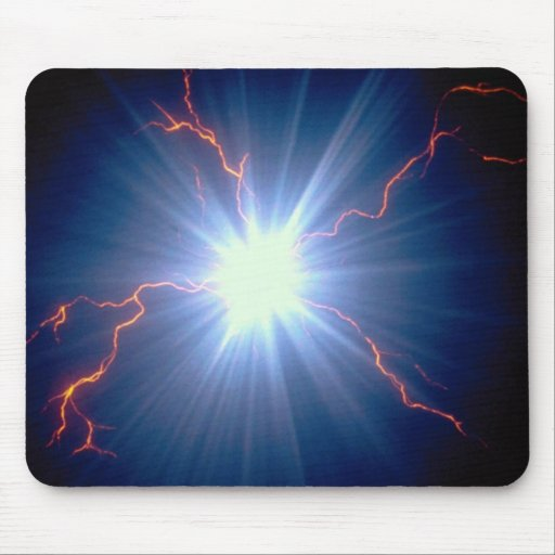 Large glowing electro-charge over blue background mouse pad