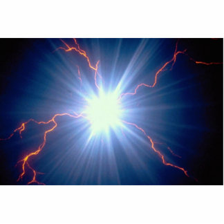 Large glowing electro-charge over blue background standing photo sculpture