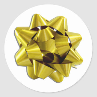 Large Gold Christmas Bow Classic Round Sticker