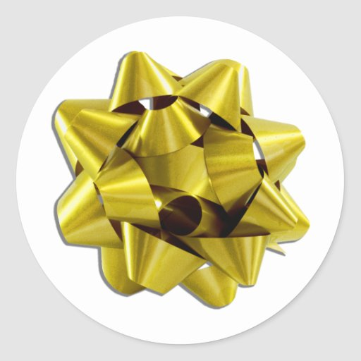 Large Gold Christmas Bow Round Sticker