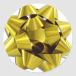 Large Gold Christmas Bow Round Stickers