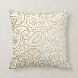 Large Gold Paisley on White Pillow
