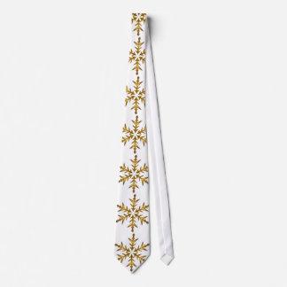 Large gold snowflakes on white tie