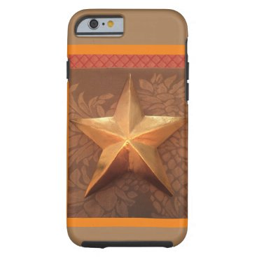 Large Gold Star on khaki with orange & red borders Tough iPhone 6 Case