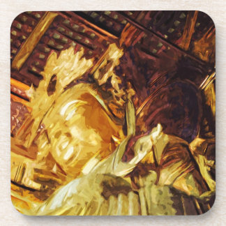 Large Gold Statue Kyoto Japan Abstract Coaster