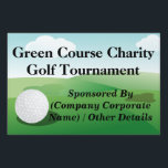 """Large Golf Tournament Custom Yard Sign<br><div class=""""desc"""">Add your charity or golf tournament title,  name,  and corporate sponsoror other  information online. Great for a golf outing,  or tournament event.  two-sided full-color yard sign,  use for any golfing sports event,  or grounds at a golf course clubhouse.</div>"""