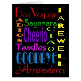 Large Goodbye Adios Cheerio 8 x 10 Farewell Card