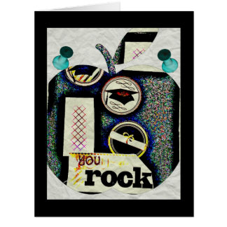 Large Graduation Card Gift You Rock Apple Abstract