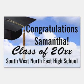 Large Graduation Yard Sign, Blue Sky Banner