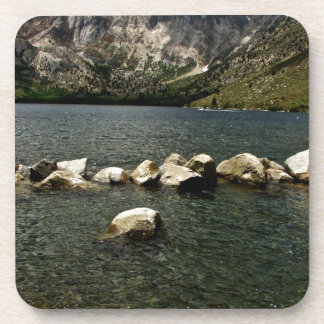 LARGE GRANITE BOULDERS IN A MOUNTAIN LAKE DRINK COASTER