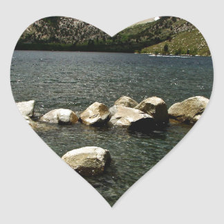 LARGE GRANITE BOULDERS IN A MOUNTAIN LAKE HEART STICKER