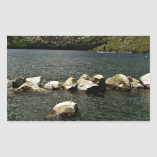 LARGE GRANITE BOULDERS IN A MOUNTAIN LAKE RECTANGULAR STICKER