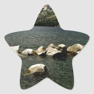 LARGE GRANITE BOULDERS IN A MOUNTAIN LAKE STAR STICKER