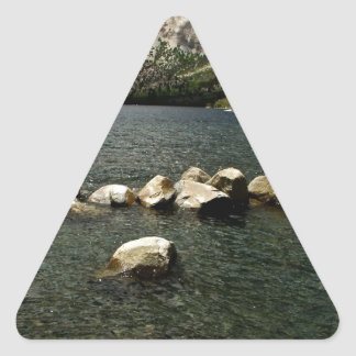 LARGE GRANITE BOULDERS IN A MOUNTAIN LAKE TRIANGLE STICKER