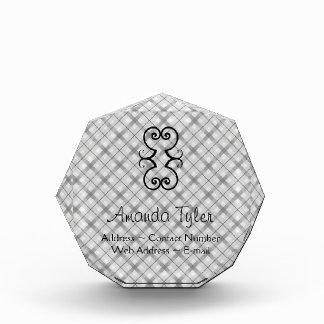 Large Gray Plaid Pattern Acrylic Award