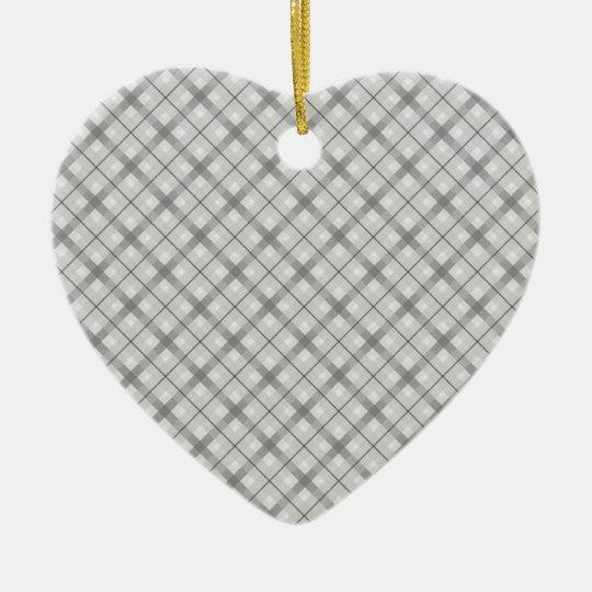 Large Gray Plaid Pattern Ceramic Ornament