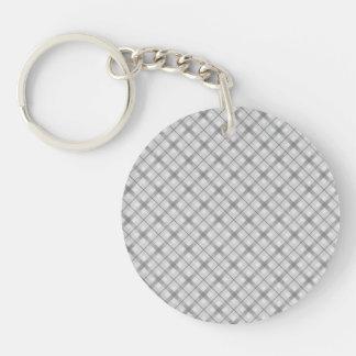Large Gray Plaid Pattern Keychain