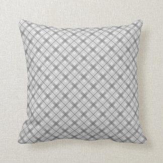 Large Gray Plaid Pattern Throw Pillow