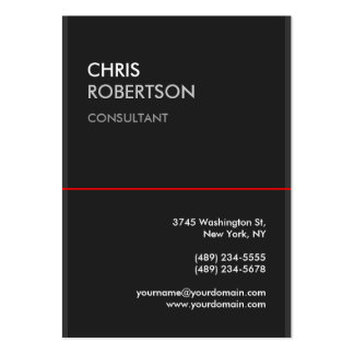Large Gray Red Line Attractive Business Card